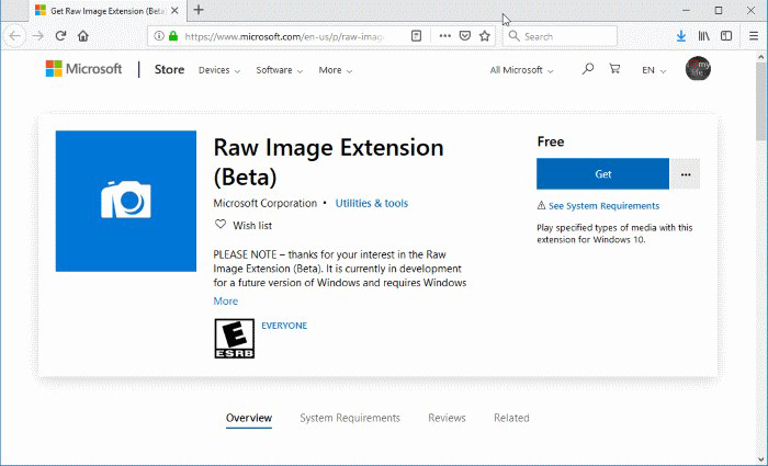 How to Open for RAW Image Files on Windows 10 OS