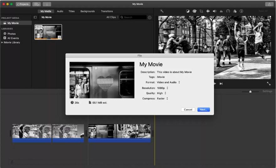 Export iMovie